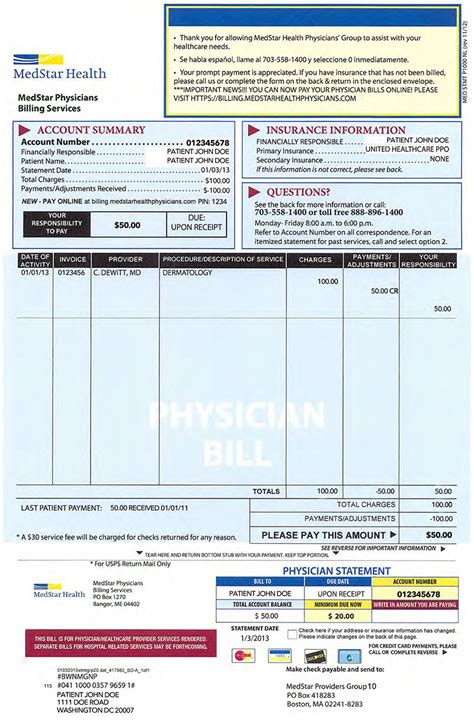 emergency room bill billing and insurance medstar health