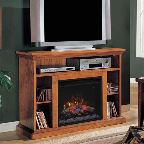 electric fireplace tv stand oak beverly 23 quot premium oak media console electric fireplace