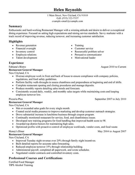 restaurant manager resume objective gallery of hospitality objective