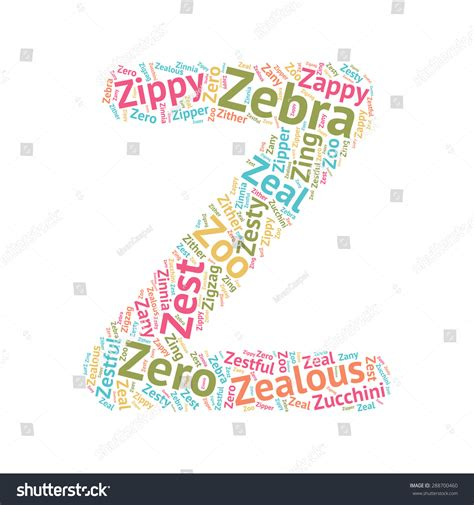 words with z word cloud abc letters series stock vector 288700460
