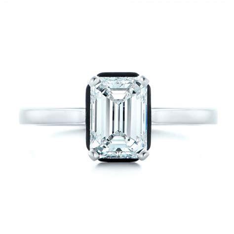 custom emerald cut and black ceramic engagement ring