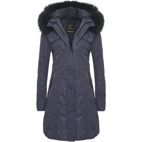Coats Homes by Creenstone Coat Navy With Fur Trim 821220 Buy