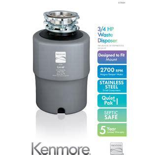 Kenmore 70351 3/4 Horsepower Standard Garbage Disposer   Cool Gray