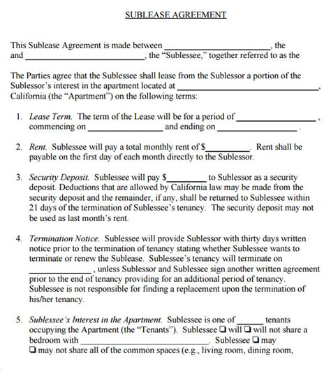 sublet agreement template sublease agreement 17 free documents in pdf word