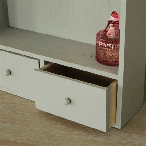 small grey wood cabinet drawers shelf shelving bathroom