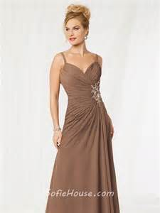 elegant spaghetti strap long brown chiffon beaded mother