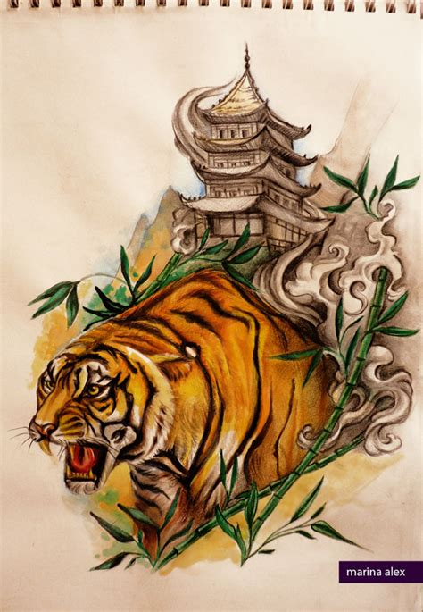 pagoda tattoo designs design tiger and pagoda by marinaalex on