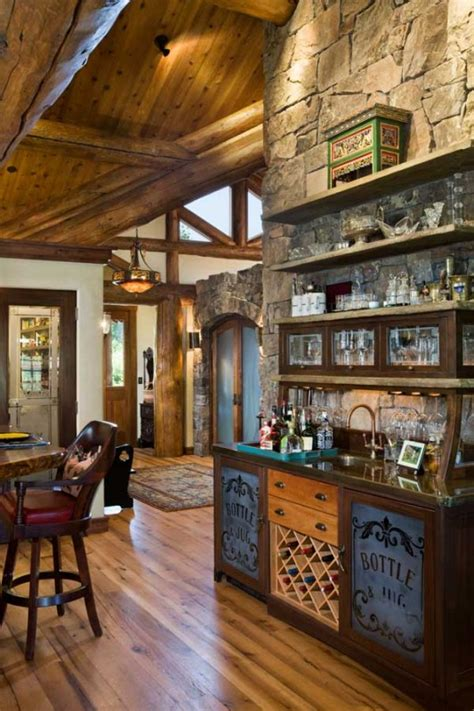 Timber Home Bar Reclaimed Timber Home In Wyoming Updates Tradition