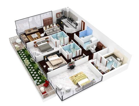 One Floor Modern House Plans by Insight Of 3 Bedroom 3d Floor Plans In Your House Or