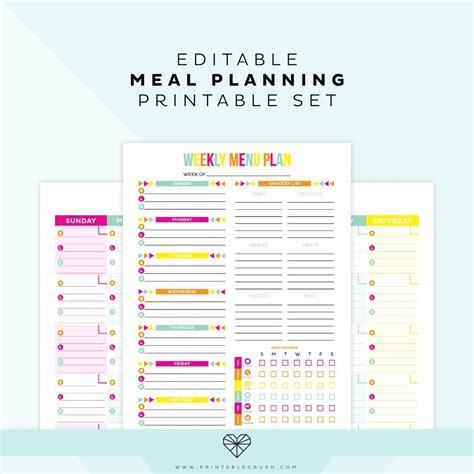 Editable Meal Plan Printable Printable Crush