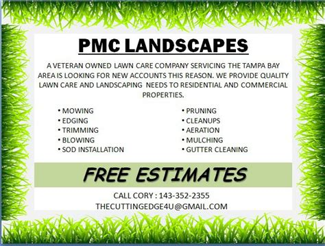 9 page card template landscape free landscaping flyer templates to power lawn care