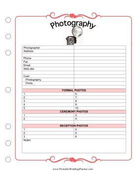 printable wedding planner organizer photography