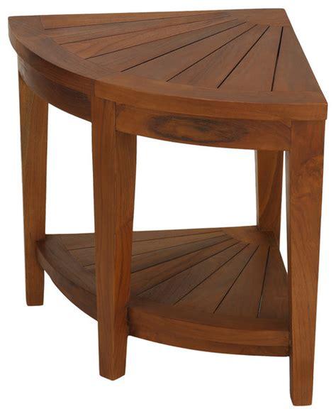 Solid Teak Corner Vanity Stool by Corner Spa Stool Solid Teak Wood Transitional