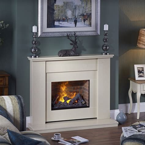 mustique marble fireplace with opti myst electric