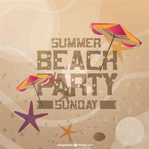 summer beach party invitation card vector free download