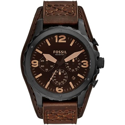 Fossil Black Brown Leather fossil s nate chronograph brown leather jr1511 leather band jewelry watches
