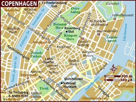 copenhagen map map of copenhagen denmark europe