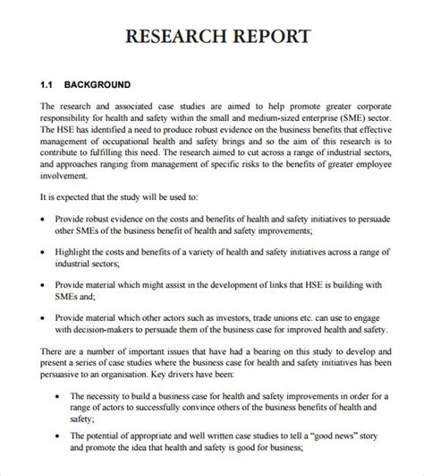 sle research report format research report format template business