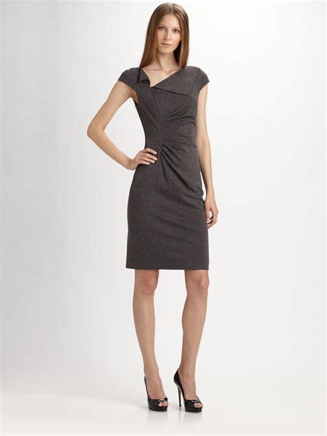 Rr716545 Dress Grey Collar david meister folded collar sheath dress in gray lyst