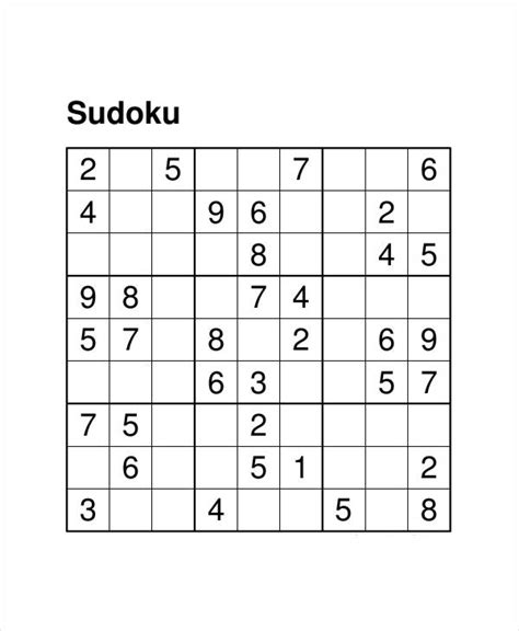 free printable sudoku templates printable sudoku puzzle 7 free pdf documents download