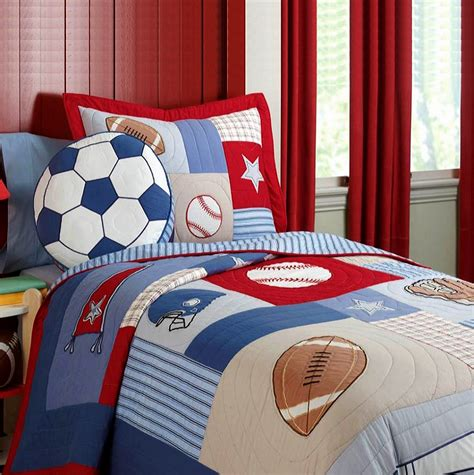 Patchwork Quilts For Boys - football soccer boys bedding patchwork quilt quilted