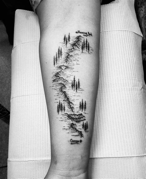 pacific crest trail on girls arm best tattoo design ideas