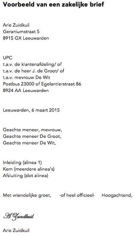 Een Zakelijke Brief Schrijven Nederlands Pdf zakelijke brief