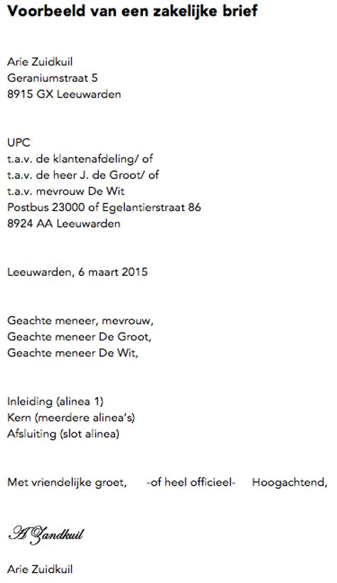 Informele Briefformat Zakelijke Brief Nederlands Examen Residentieel Complex