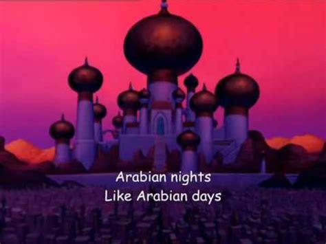 arabian nights aladdin lyrics youtube