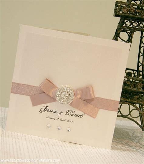ribbon design for invitation card luxury diamante wedding invitation card with dusty pink