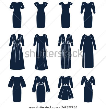 dress pattern types different types women dresses sleeves solid stock vector