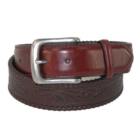 mens leather tanned embossed western belt by roper