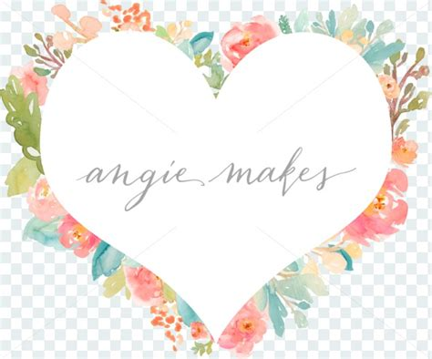 shabby chic watercolor heart background with watercolor