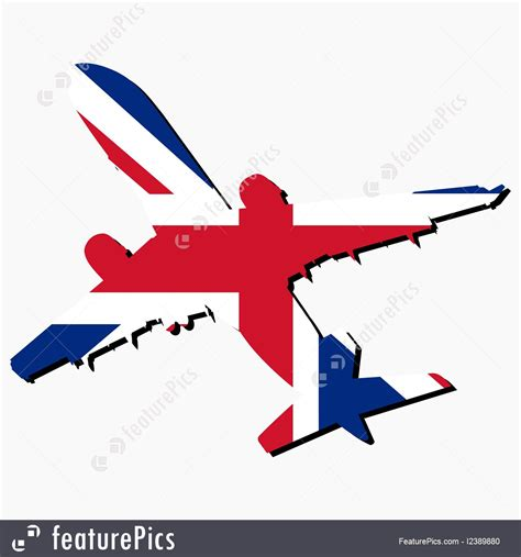 flags of the world x plane plane silhouette with british flag illustration