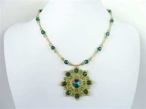 beaded pendant pattern free beading pattern for rivoli necklace