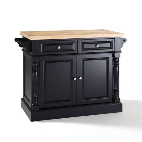 kitchen island black butcher block top kitchen island in black finish crosley