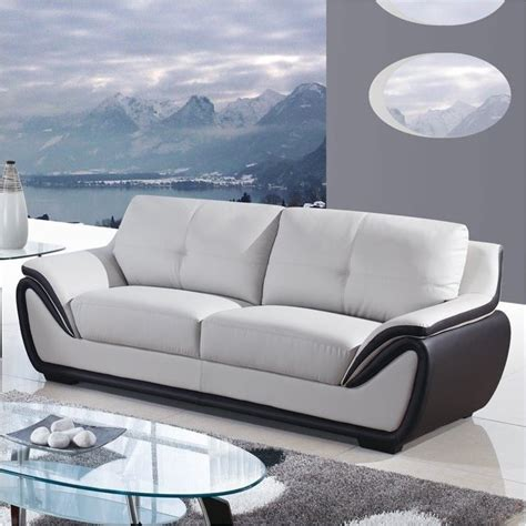 Black And Grey Leather Sofa Bowery Hill Leather Sofa In Gray And Black Bh 429139