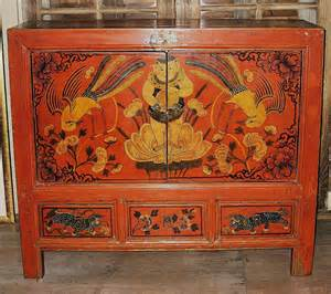 Antique chinese painted red small cabinet from dynastycollections on