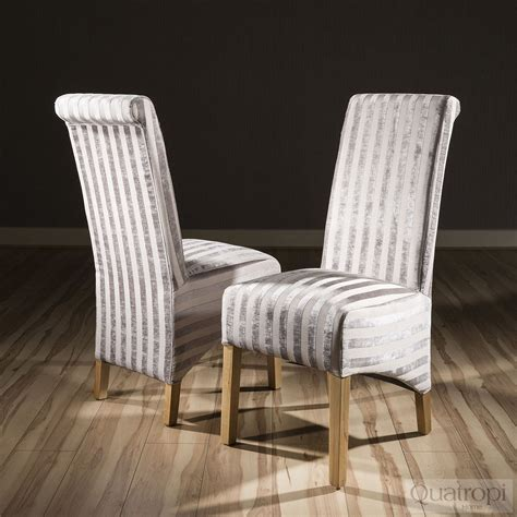 Fabric High Back Dining Chairs Luxury Set Of 2 High Back Fabric Dining Chairs Mink V Stripe New Ebay