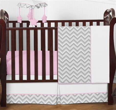 Pink And Gray Chevron Zig Zag Baby Bedding 4pc Crib Set Gray And Pink Chevron Crib Bedding