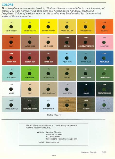 electrical color code western electric products telephones color charts