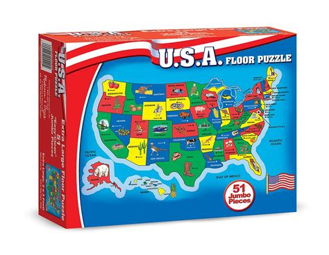 american states puzzle doug usa map 51 pcs floor puzzle