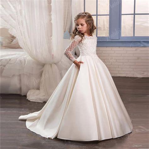 Dress Fashion Flower 4 new fashion flower dress 2017 communion dresses for sleeve mesh pageant
