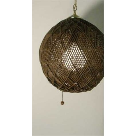 Rattan Ceiling Light Brown Hippie Vintage Hanging Ceiling Light Rattan Swag L