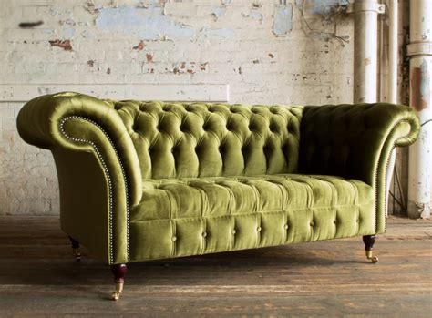 Geneva Green Velvet 2 Seater Chesterfield Sofa Abode Sofas 2 Seater Chesterfield Sofa