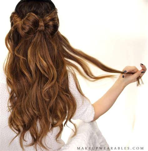 hairstyles for school half up half down half up half down hair bow updo hairstyle for school