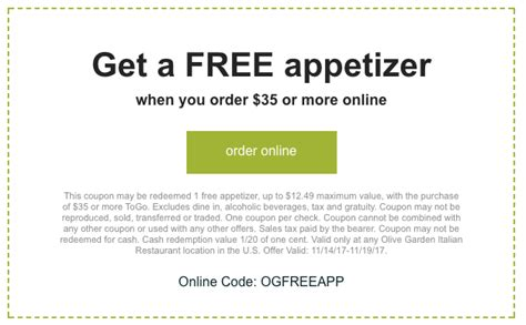 olive garden coupons email olive garden free appetizer with online coupon code