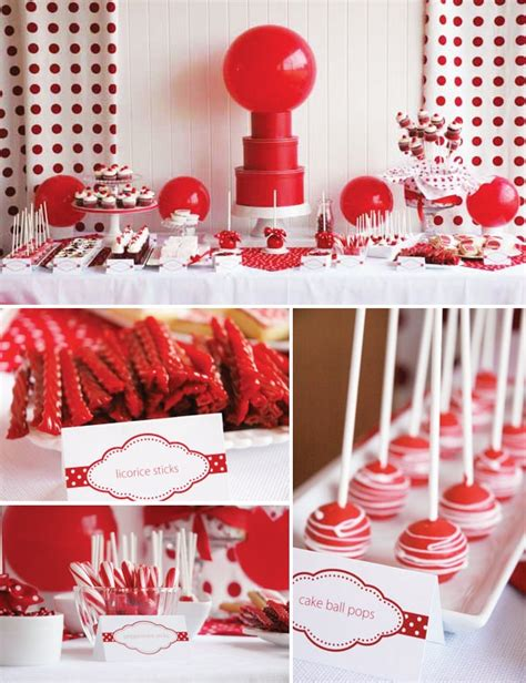 party themes with red un candy bar en rouge et blanc