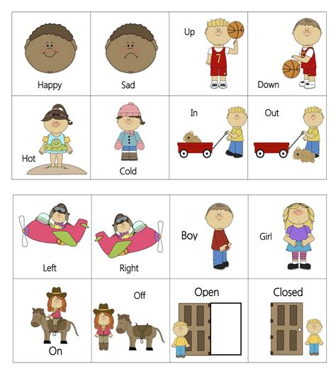 printable opposite games for kindergarten opposites teacher stuff pinterest language