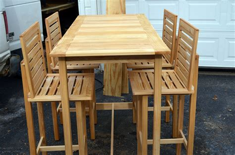 Custom Made Bar Height Table And 4 Chairs Made For Outdoor